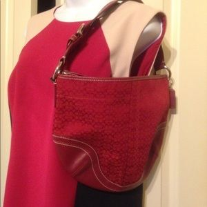 Red Coach Classic C Pattern Leather Canvas 👛